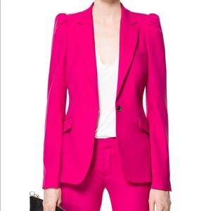 Zara hot pink fushcia blazer w/ statement shoulder